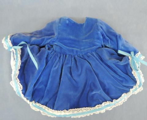 Dc755 Blue Velvet Dress Antique Reproduction Antique
